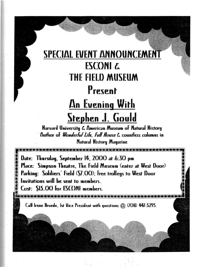 Stephen J Gould Talk Flyer