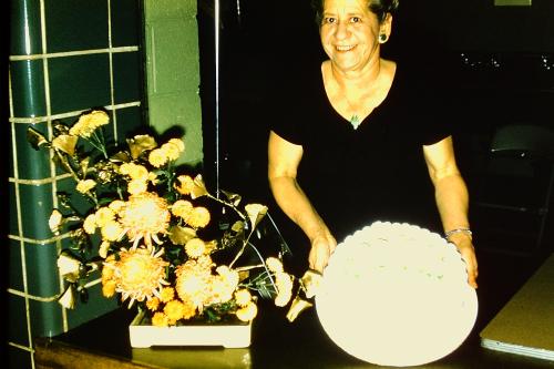 21-ESCONI 10th Anniv_Hazel Bonon & cake_11-13-1959