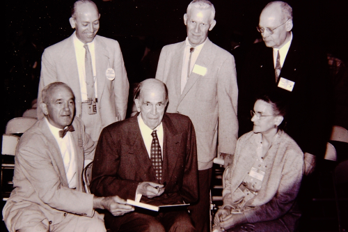 18_George Langford & ESCONI Associates for 1st Book  Orval Feather  Geo.Malcott  Howard Knight (standing); Harry Witmer  Langford  Stella Barrick_June 13 1958