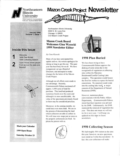 Mazon Creek Project Newsletter_V1-Is1_1999