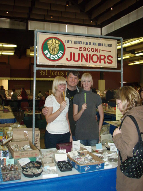 Jim Fairchild and his daughters run the Juniors booth
