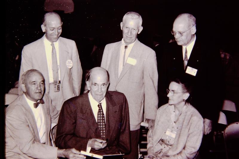 1_George Langford & ESCONI Associates 1st Book  Orval Fether  Geo.Malcott  Howard Knight (standing); Harry Witmer  Langford  Stella Barrick_June 13 1958