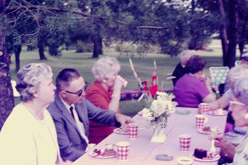 11_Hazel Hillmer  George Palmer  Leona Farr  Marge Darrow (front L-R)_Ade party_Aug-1967