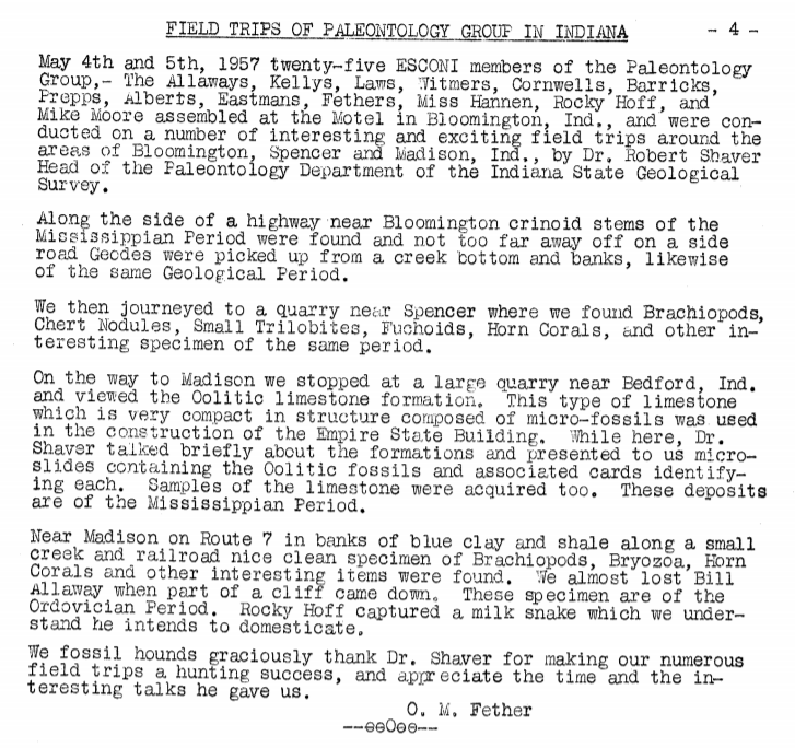 Indiana Field Trip May 4th-5th  1957