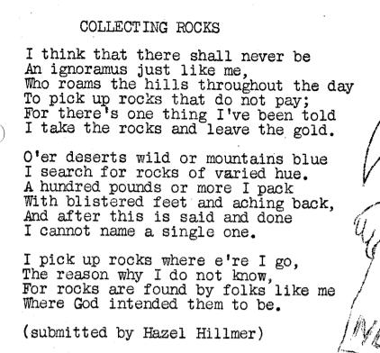 January 1962 - Collecting Rocks Poem