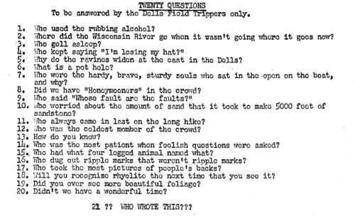 December 1952 - Questions